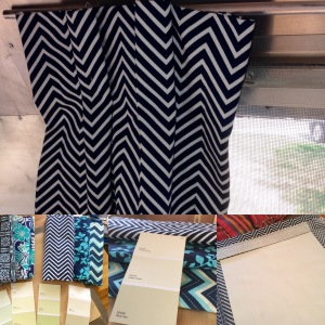 From lower left, counterclockwise: fabrics we considered, panel under construction, and finished panel.
