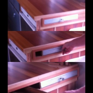 Screen grabs of sliding door cubby in action!