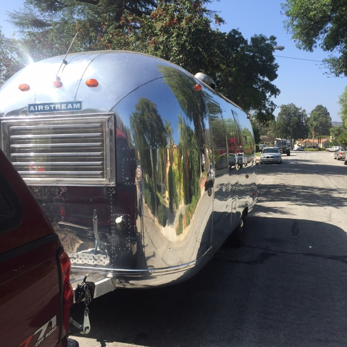Airstream, after successful launch fro our driveway, in our