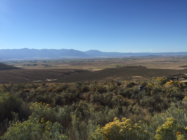 "View of Baker Valley and Oregon Trail, including ""ruts"" from Interpretive Center."