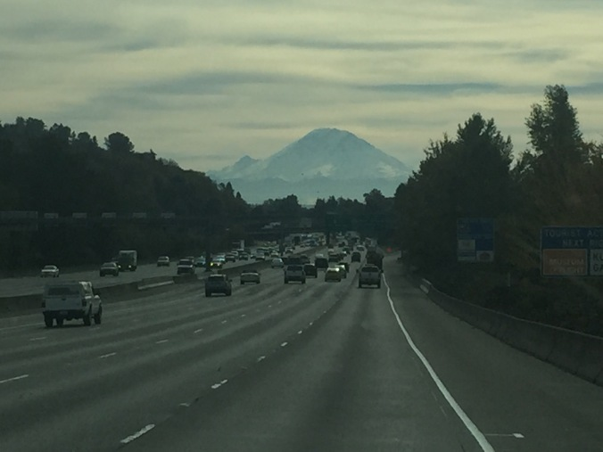Mt. Rainier, on a unusually clear day, heading south from Seattle on THE 5!